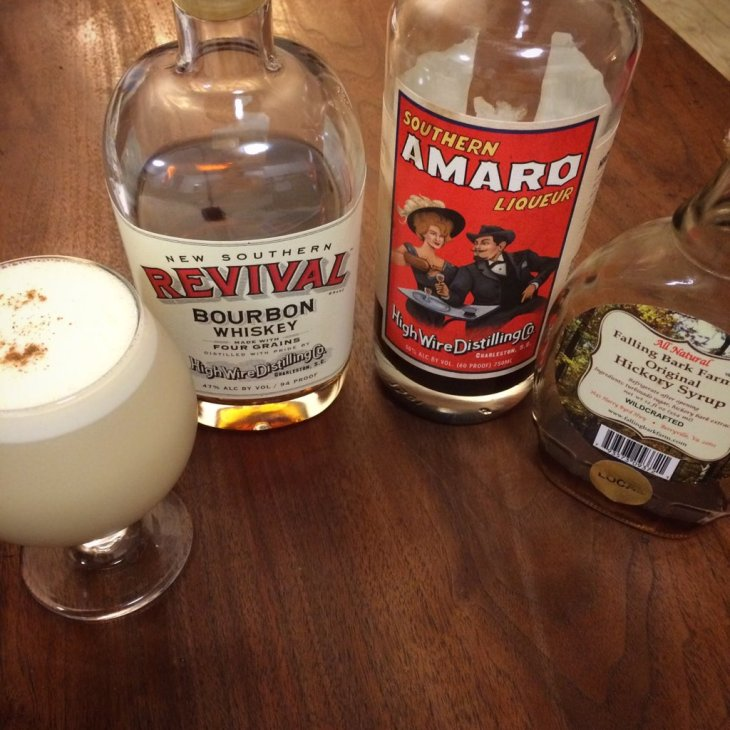 Eggnog recipe using bourbon and amaro from Charleston's High Wire Distilling