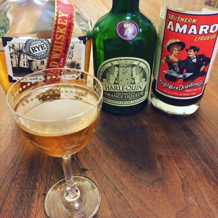 Unnamed Cocktail with Rye whiskey, orange liqueur and high wire southern amaro