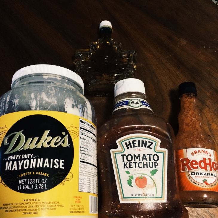 AP Sauce made from Duke's mayo, heinz ketchup, hot sauce & maple syrup