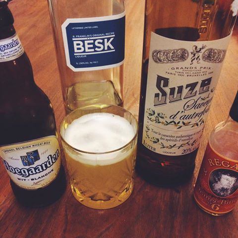 Beer cocktail recipe with Besk, Suze, Hoegaarden and Regan's Orange Bitters