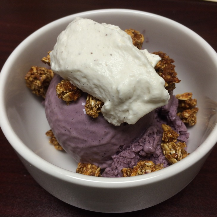 blueberry tarragon ice cream with granola