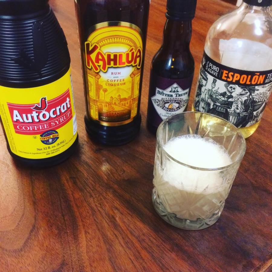 cocktail with kahlua, espolon reposado tequila, bittermans mole bitters, milk and autocrat coffee syrup