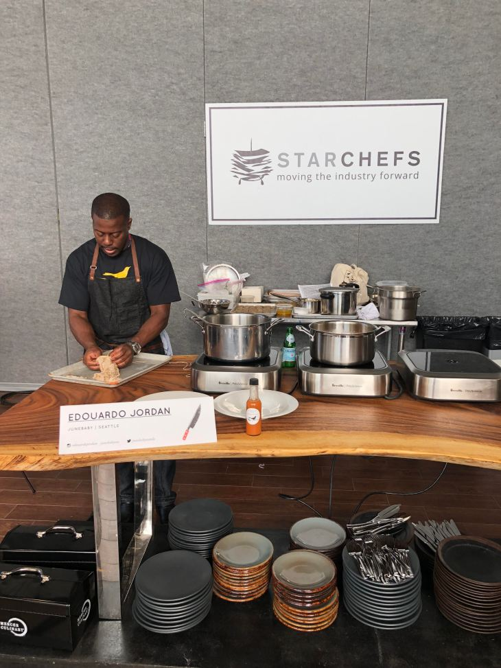 Seattle chef Edouardo Jordan making chitterlings and chitlins at the 2017 starchefs international chefs congress