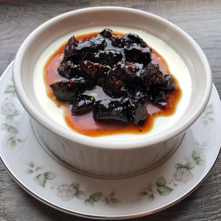 Buttermilk Panna Cotta with Berbere Caramel Figs by Frederick Maryland Personal Chef and caterer chris spear