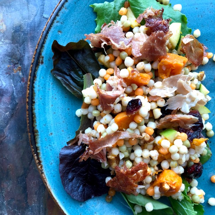 Israeli Cous Cous Salad with Edwards Country Ham, Maple/Berbere Butternut Squash, Apples, Pecans, Dried Cranberries & Cherries and Olde Mother Harvest Gose beer vinaigrette by frederick maryland personal chef and caterer chris spear