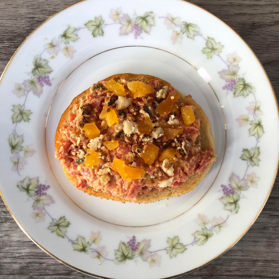 pepperoni spread with apricots and walnuts from frederick maryland personal chef and caterer chris spear