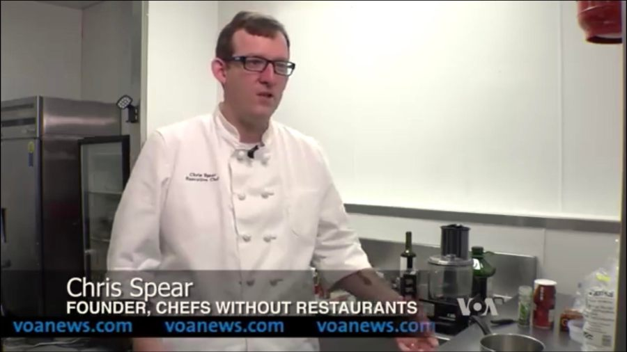 frederick maryland personal chef and caterer chris spear talks to voice of america news about his culinary networking group chefs without restaurants