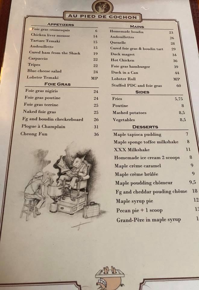montreal food food at au pied de cochon